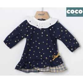 Coco Acqua Winter Baby Girl Navy Dress with Stars