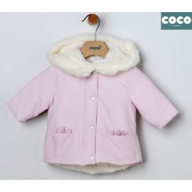 Coco Acqua Winter Baby Girl Pink Coat White Hair