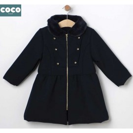 Coco Acqua Winter Girl Navy Mouflon Coat