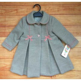 Anavig Winter Baby Girl Gray Coat Pink Ties