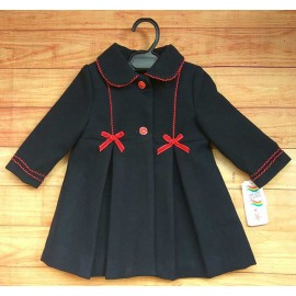 Anavig Winter Baby Girl Navy Coat Red Ties