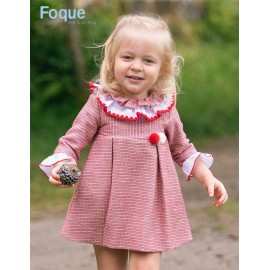 Foque Winter Girl Dress Red and White