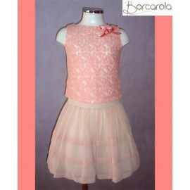 Barcarola Girl Set Pink Shirt and Skirt