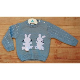 Sardon Winter Baby Boy Blue Sweater 2 Rabbits