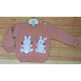 Sardon Winter Baby Pink Sweater 2 Rabbits