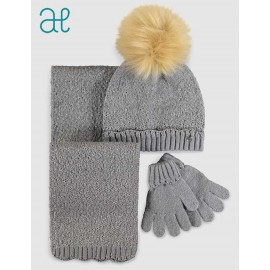 Abel & Lula Winter Girl Gray Hat Scarf Gloves