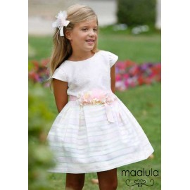 Maalula Summer Girl Dress Ceremony White and Pink