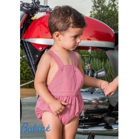 Babiné Summer Baby Boy Romper Red Small Squares