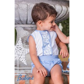 Babiné Summer Baby Boy Set Border Blue and White