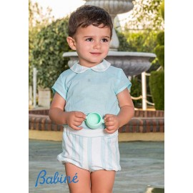 Babiné Summer Baby Boy Set Turquoise and White with Stripes