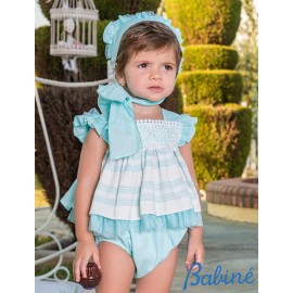 Babiné Summer Baby Girl Set Turquoise and White with Stripes