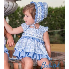 Babiné Summer Baby Girl Set Blue and White Printed