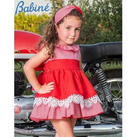 Babiné Summer Girl Dress Red and Small Squares
