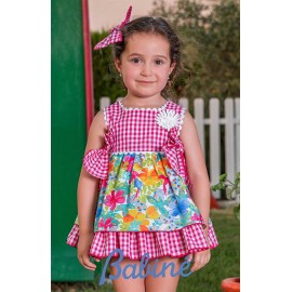 Babiné Summer Girl Dress Flowers and Squares