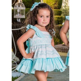 Babiné Summer Girl Dress Turquoise and White High Waist