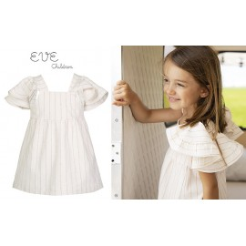 Eve Children Summer Girl Dress White with Small Stripes