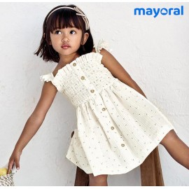 Mayoral Summer Girl Dress Beige Small Flowers