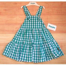 Cocote Summer Girl Dress Green Squares