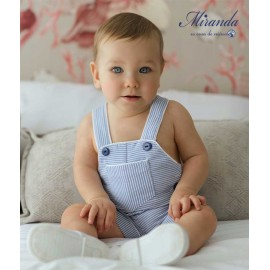 Miranda Summer Baby Boy Romper Blue Stripes