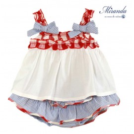 Miranda Summer Baby Girl Set White and Blue Stripes