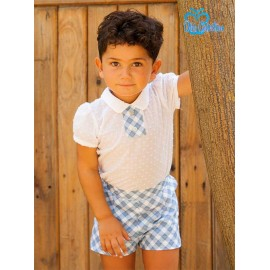 DBB Collection Summer Baby Boy Set White and Blue Squares