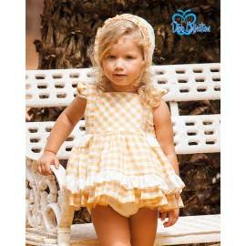 DBB Collection Summer Baby Girl Set Ocher Squares