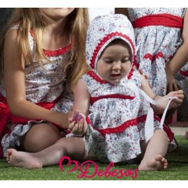 Debesos Winter Baby Girl Set Florecitas Rojas