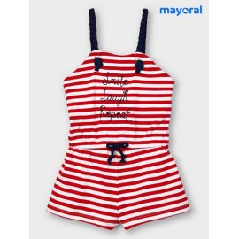 Mayoral Summer Girl Romper Red Stripes