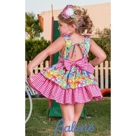 Babiné Summer Girl Dress Squares and Printed