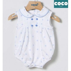 Coco Acqua Summer Baby Boy White Romper Spots
