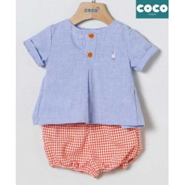 Coco Acqua Summer Baby Boy Set Denim and Squares