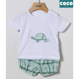 Coco Acqua Summer Baby Boy Set Turtle and Squares