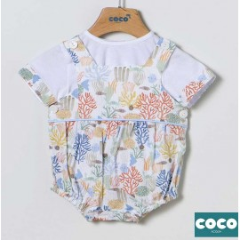 Coco Acqua Summer Baby Boy Set with Romper Corales