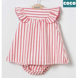 Coco Acqua Summer Baby Girl Dress Red Stripes