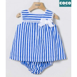 Coco Acqua Summer Baby Girl Dress Electric Blue Stripes