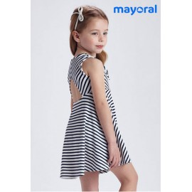 Mayoral Summer Girl Dress White and Navy Stripes