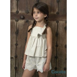 Cocote Summer Girl Set Camel Embroidery