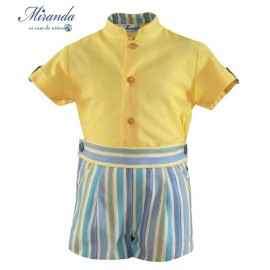 Miranda Summer Baby Boy Set Yellow and Stripes