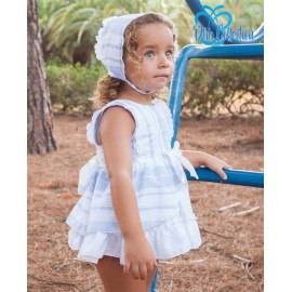 DBB Collection Summer Baby Girl Set White and Blue Stripes