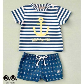 Jose Varon Summer Boy Swim Set Denim Anchors