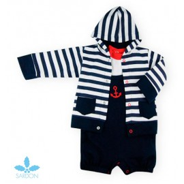 Sardon Summer Baby Boy Set with Romper Anchor and Jacket