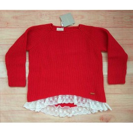 Cesar Blanco Winter Girl Sweater Red with Lace