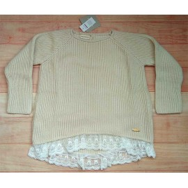 Cesar Blanco Winter Girl Sweater Beige with Lace