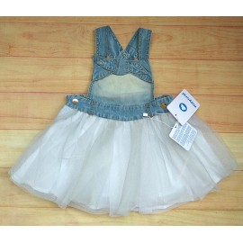 Mayoral Summer Baby Girl Dress Denim Overalls and Tulle