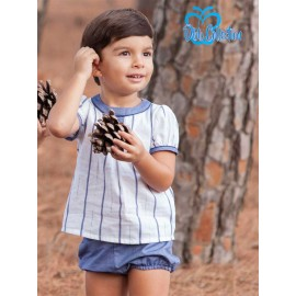 DBB Collection Summer Baby Boy Set White and Blue Stripes