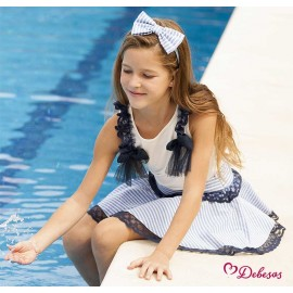 Debesos Summer Girl Set White and Blue
