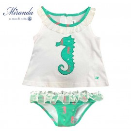 Miranda Summer Baby Girl Swim Set Sea Horse