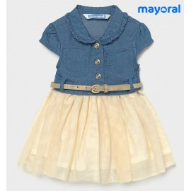 Mayoral Summer Baby Girl Dress Denim and Tulle