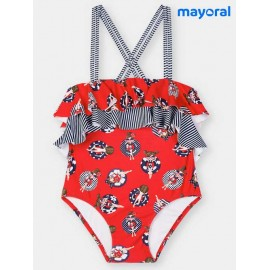 Mayoral Summer Girl Red Swimsuit with Ruffles