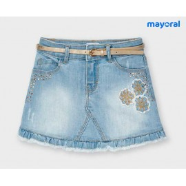 Mayoral Summer Girl Skirt Bleached Denim